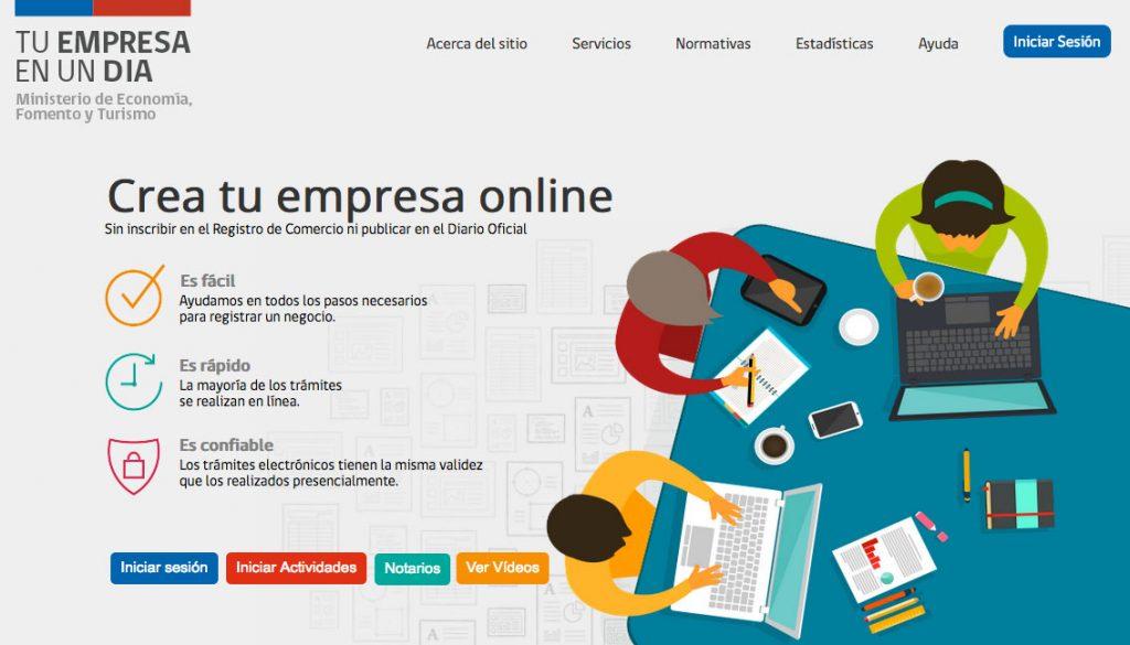 Registro de Empresas y Sociedades a través del portal www.empresaenundia.cl