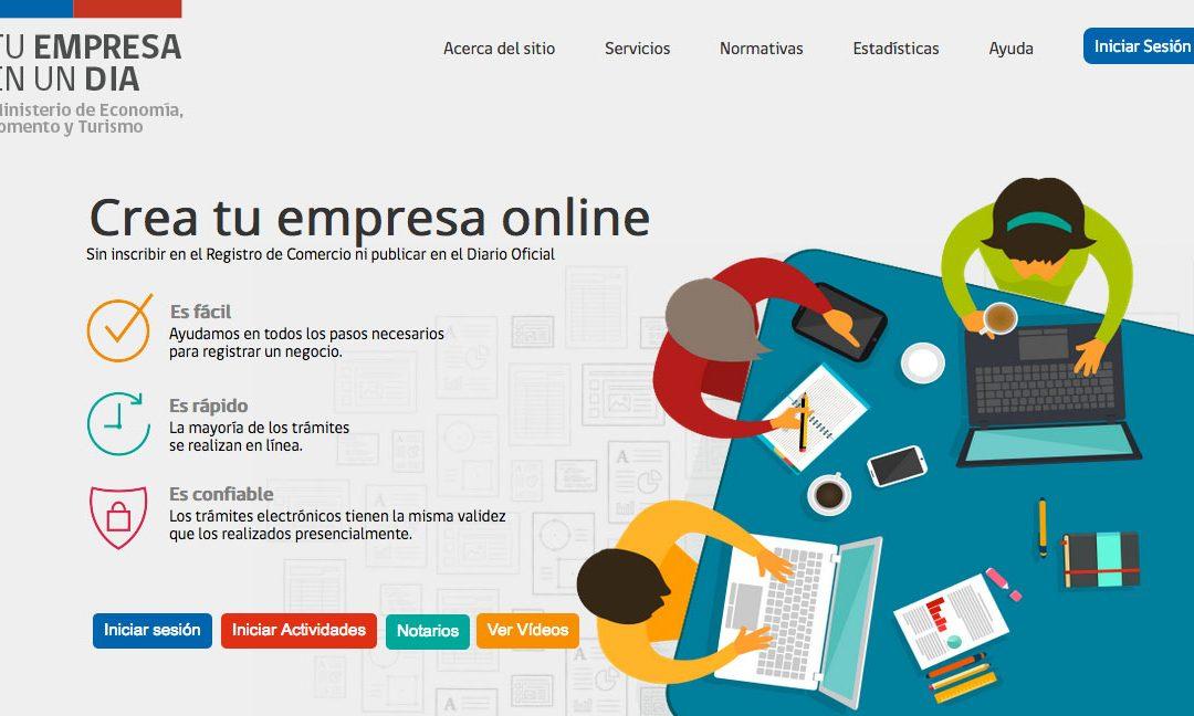 Registry of Companies through the portal www.tuempresaenundia.cl